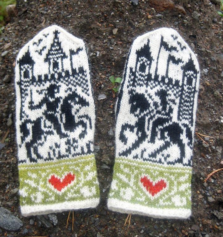(6) Name: 'Knitting : Swords & Roses Mittens