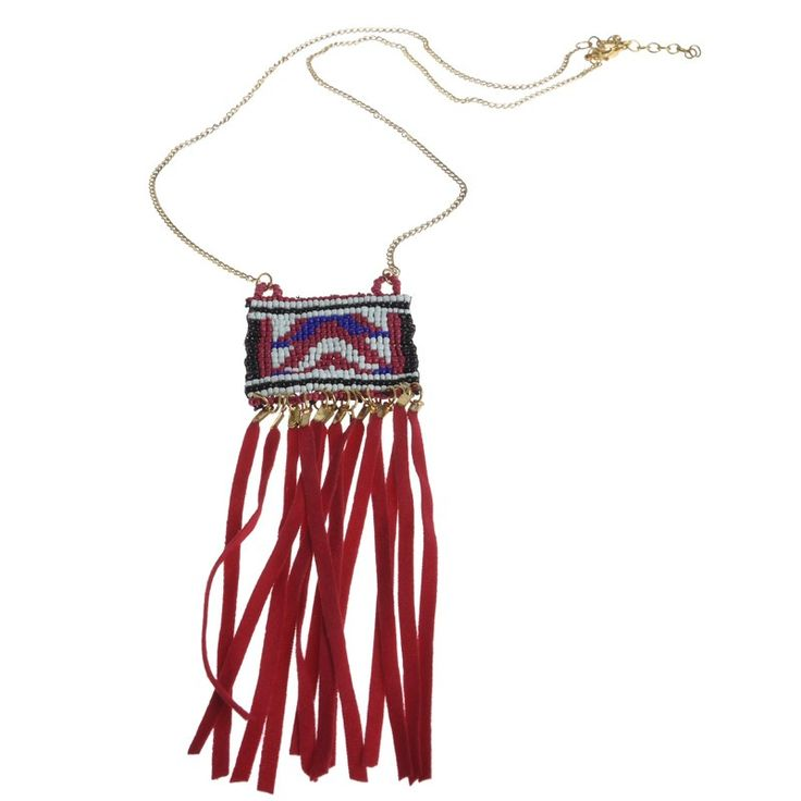 NECKLACE WITH BEADS AND RED CROCKETS - Jewelery