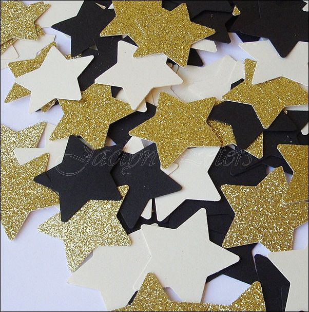 Black And Glitter Gold Stars Party Confetti
