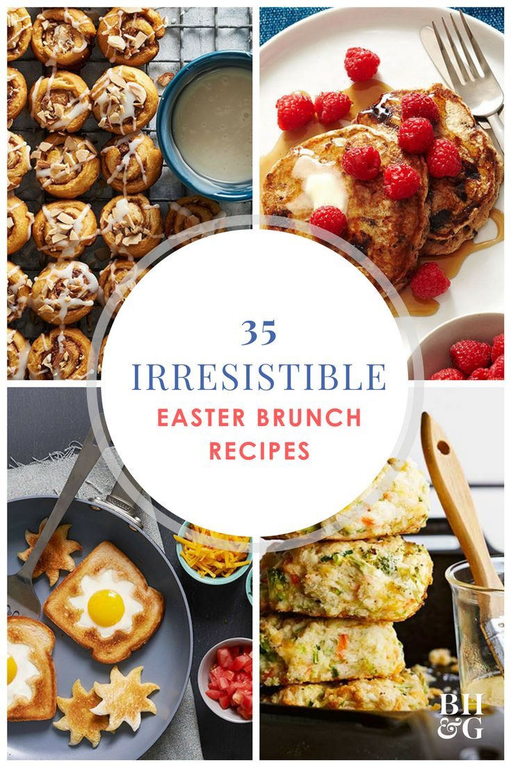 Host an all-star Easter brunch that everyone will enjoy with these scrumptious recipes. Our recipes include sweet and savory food items like cinnamon rolls, strata, and cheesy egg casserole. Many of these brunch recipes you can make ahead of time! #easterbrunch #easter #springparty #brunch