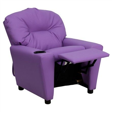 The Modern Kids' Lavender Vinyl Recliner with Cup Holder will become your child's favorite perch!