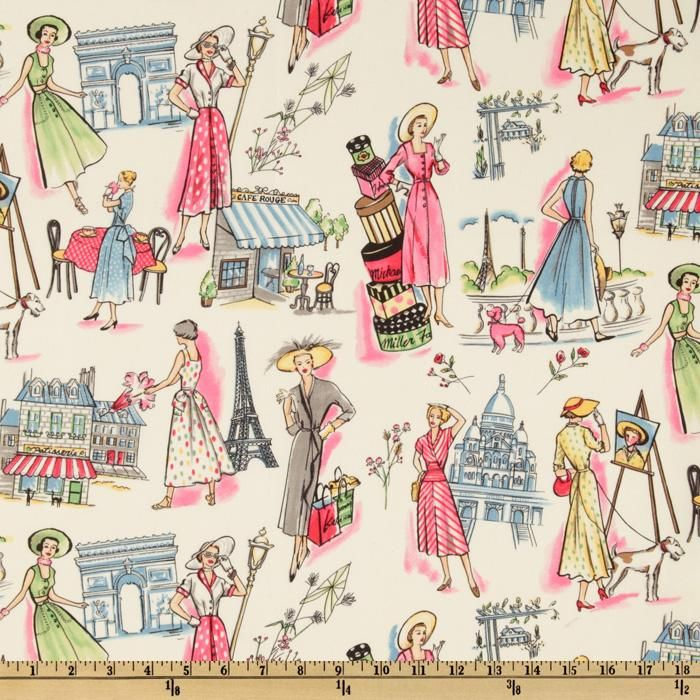 Michael Miller Springtime in Paris Multi from @fabricdotcom  From Michael Miller, this retro fabric features ladies shopping and sightseeing in Paris.  The color palette includes cream, yellow, green, red, white, grey and blue.  Fabric can be used for quilting, home decor accents, craft projects and apparel.
