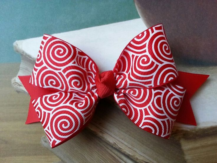 Pinwheel Christmas Red hair bow for girls -  Pinnwheel Store
