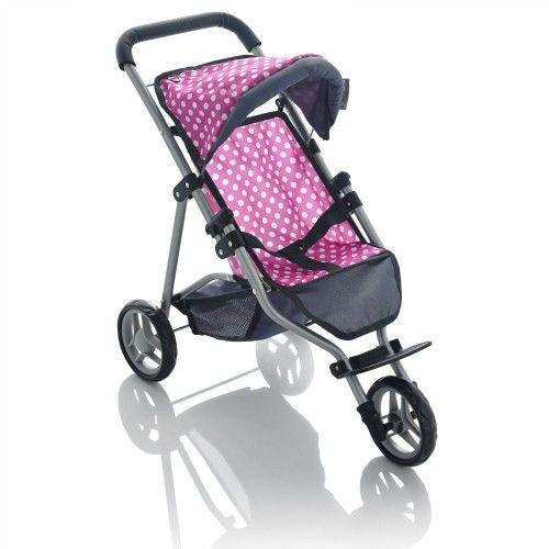 Kids 3 Wheeler Doll Stroller Toy Pink &Grey Polka Dot Girls Toddler Jogger Play  #MollyDolly