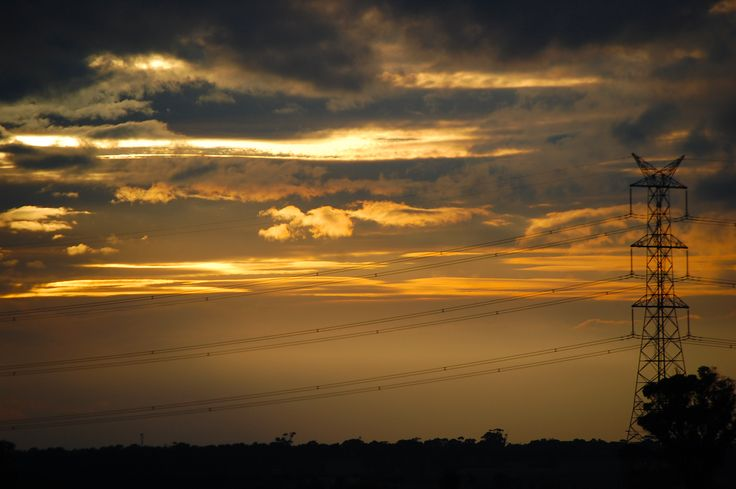 Sunset over Gheringhap and the ever present powerlines