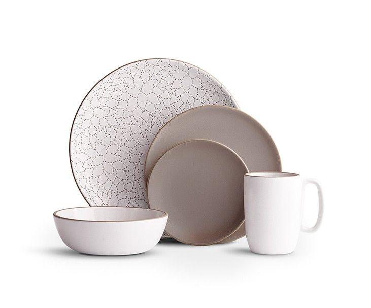 Alabama Chanin Camellia Cocoa 5 piece setting - Heath Ceramics
