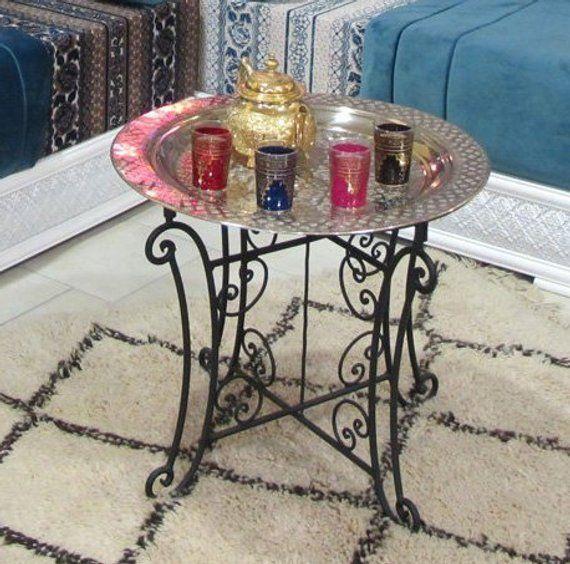Moroccan Tea Table Moroccan Engraved Brass Tray Folding Table