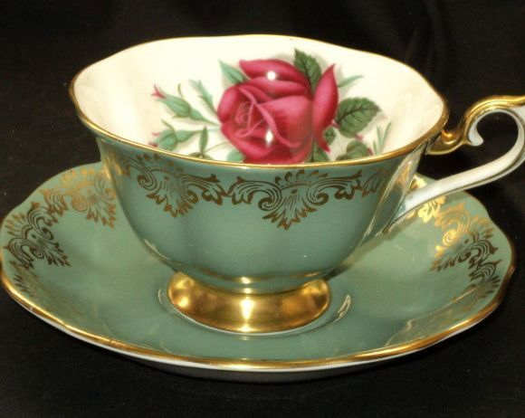 ROYAL ALBERT RED PINK ROSE SIGNED GREEN WIDE GOLD FOOTED TEA CUP AND SAUCER