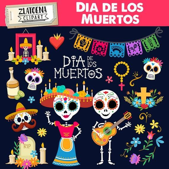 Day Of The Dead Clip Art Dia De Los Muertos Graphics Fiesta Clipart Mexico Clipart Mexican Fiesta Sugar Skull Mexican Party Clip Art In 2021 Clip Art Dia De Los Muertos