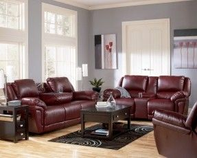 My new furniture.  The love seat are gliders and recliners!!  The couch reclines and vibrates!!!!  Magician DuraBlend Garnet Living Room Set