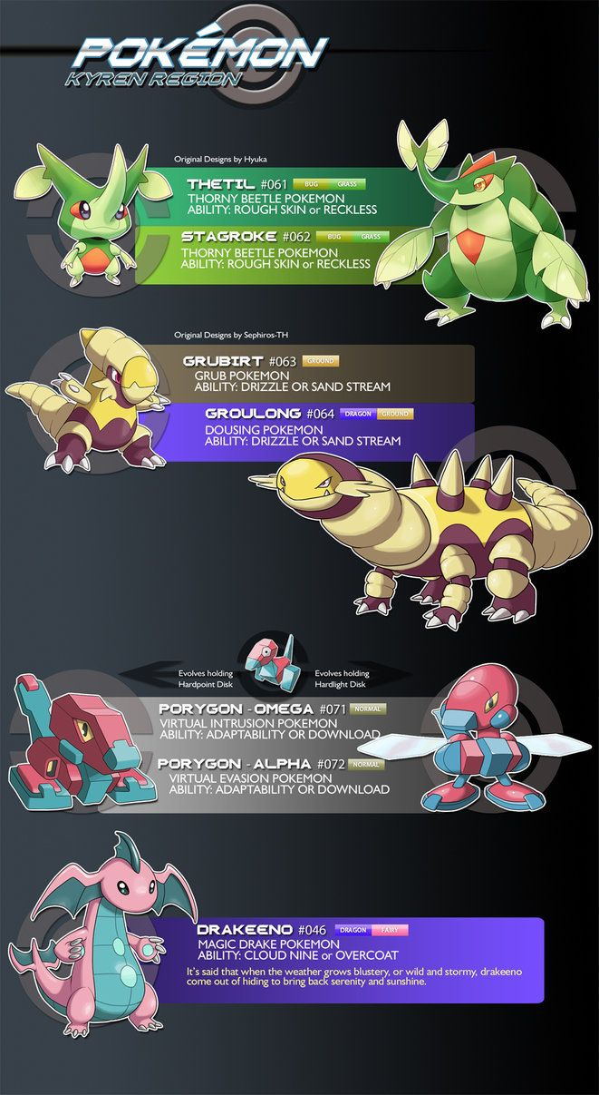 I wasn't sure I was going to make it this week, but I've got a nice little batch here for you, freshly found in Kyren! First off we have my first ever purchased fakemon, Thetil and Stagroke, design...