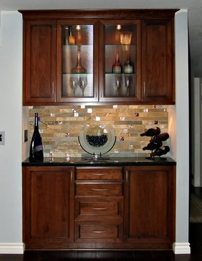 Dry Bar but wine fridge in middle and open glass shelves instead of the clear doors.