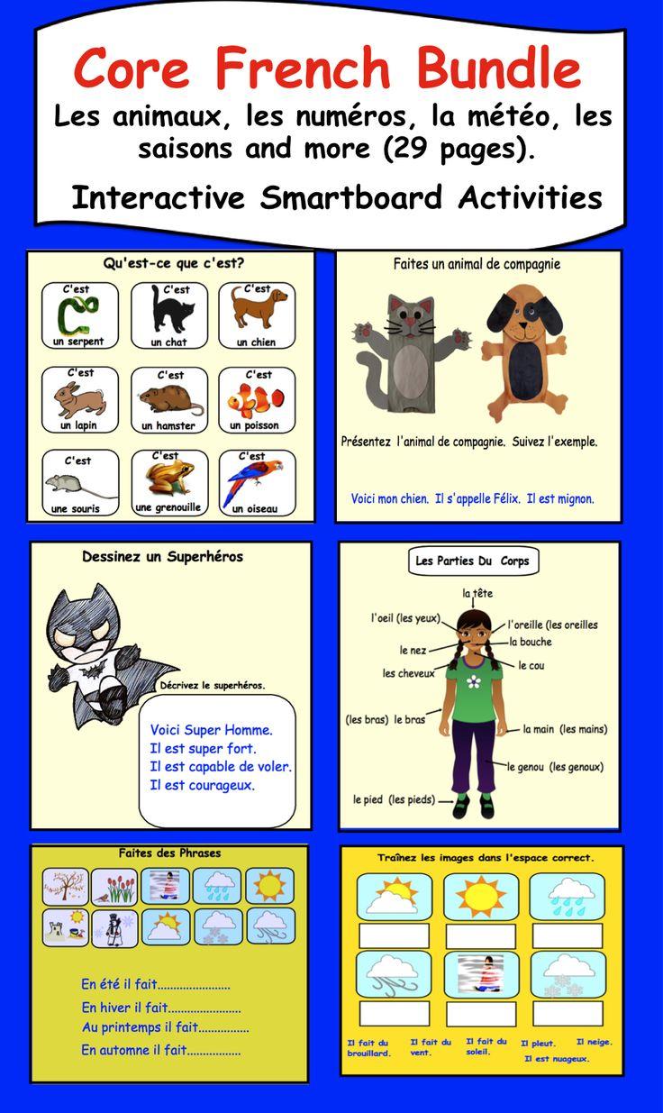 Core French Bundle for Smartboard. Les animaux, les numéros, la météo, les saisons and more.  29 pages.  $