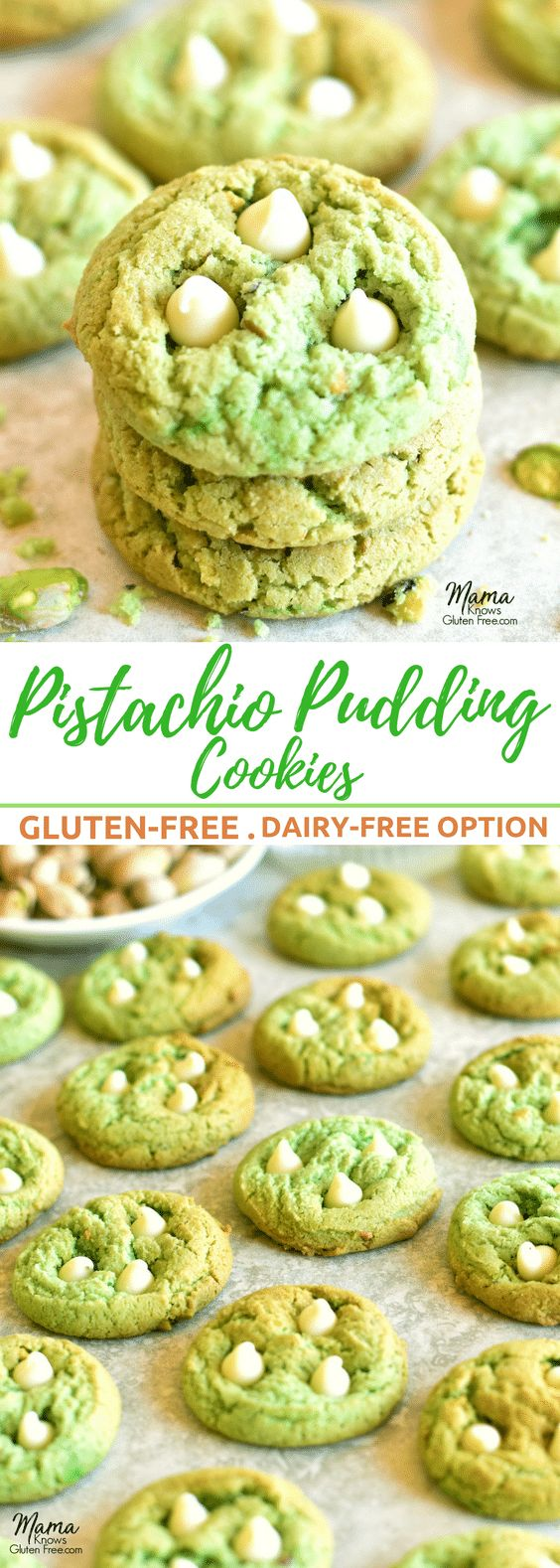 Pistachio Pudding Cookies {Gluten-Free, Dairy-Free Option} - Mama Knows Gluten Free