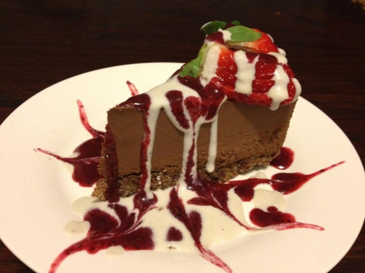my Raw Cacao Bavarian with Ginger Sauce and Berry Coulis