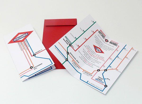 Invitación de boda original en forma de plano de metro