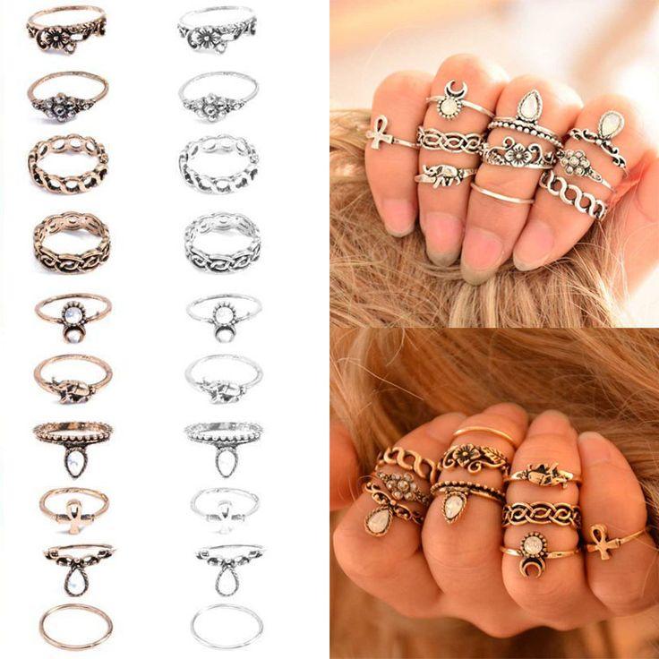 Koop 10 Stks/set Unisex Vrouwen ring Retro Gouden Zilverachtige Pijl Maan Midi Vinger Ringen Voor meisje kerstcadeaus