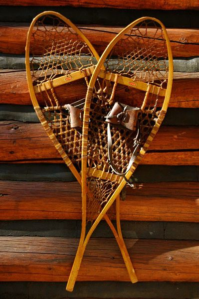 Vintage Lund Wood Snowshoes - wonderfully preserved set of vintage wood snowshoes made in Hastings, MN