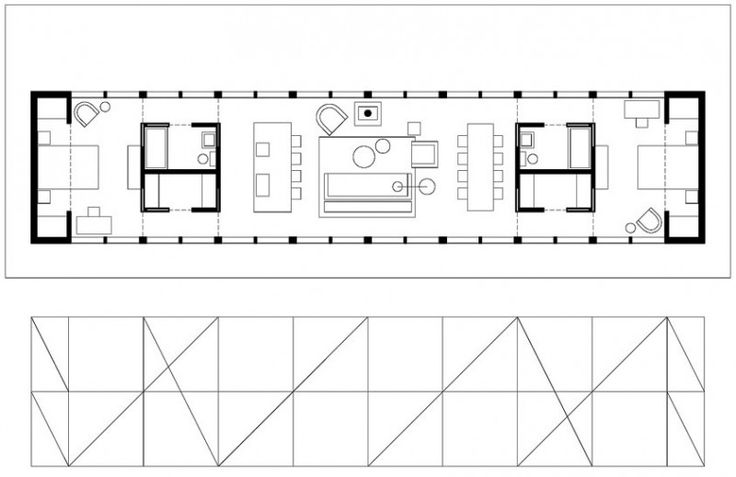 Open linear floor plan 2 minimalist home planning for Minimalist narrow house plans