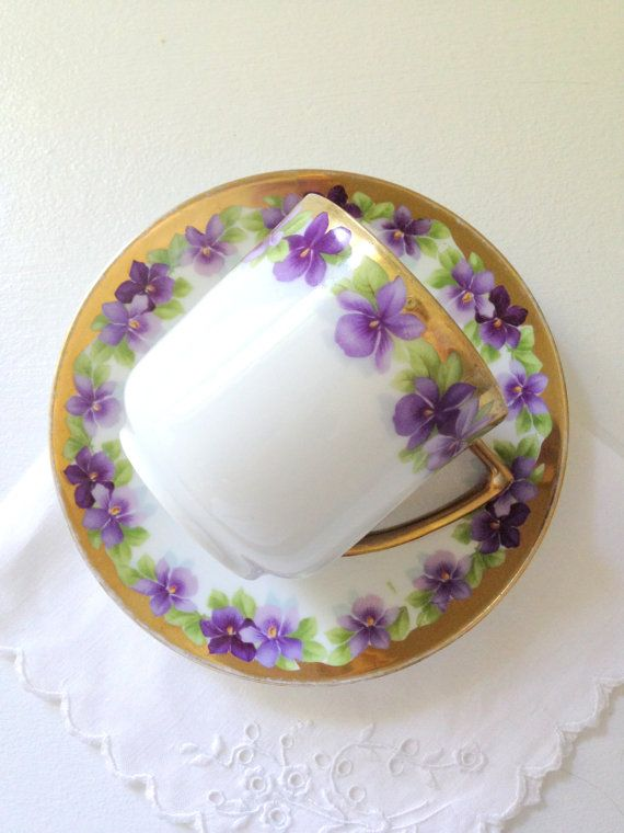 Vintage Bone China Teacup and Saucer Pansies by MariasFarmhouse