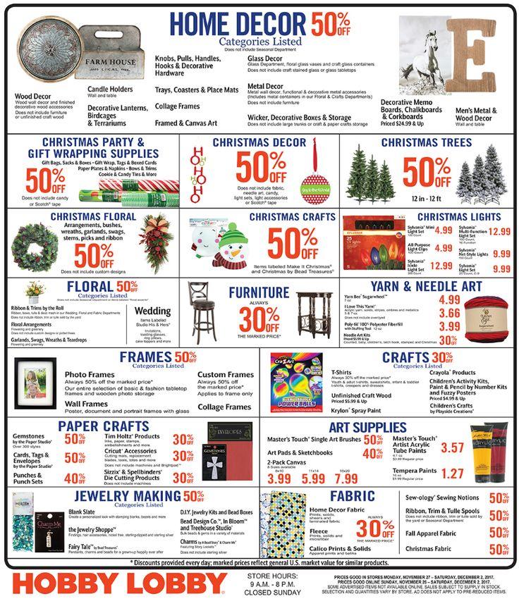 Hobby Lobby Weekly Ad  Nov 26 - Dec 02, 2017