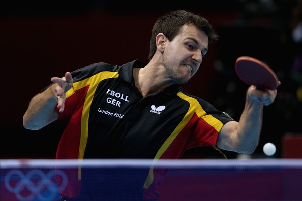 Timo Boll of Germany completes during Men's Team Table Tennis quarterfinal match against team of Austria on Day 9 of the London 2012 Olympic Games at ExCeL on August 5, 2012 in London, England.