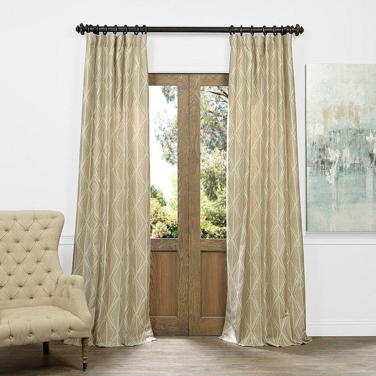 EFF Marquise Diamond Faux Silk Jacquard Curtain, Beig/Green (Beig/Khaki)