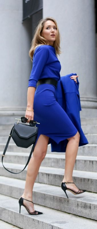 cobalt 3/4-sleeve knit midi dress, cobalt coat, black pointy toe pumps, black leather shoulder bag, wide waist belt + sunglasses {badgley mischka, icb, sjp collection, m2malletier, ralph lauren, miu miu}