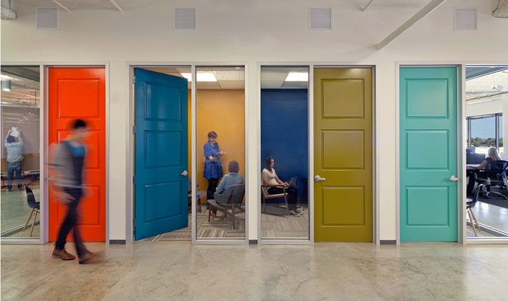Colour - thinking how we can apply colour on areas other than walls. Coloured Doors, framing etc: