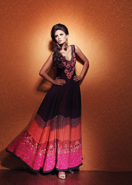 Black anarkali with vibrant colored bottom.