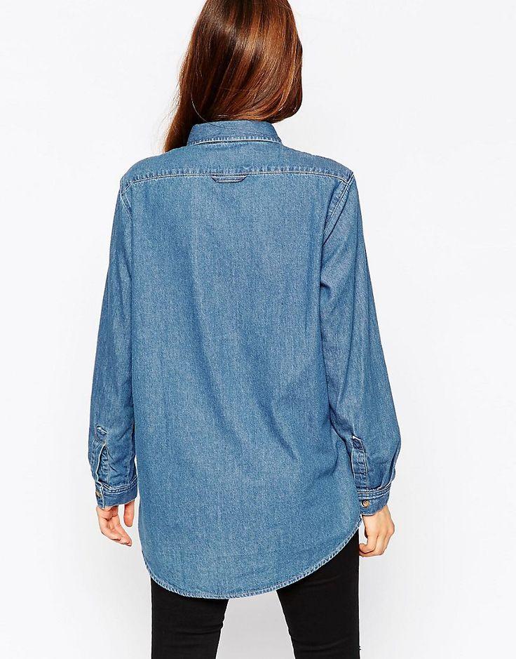 Изображение 2 из Джинсовая рубашка бойфренда с винтажной потертостью ASOS