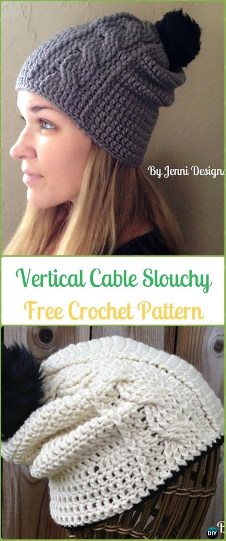 92972ffab8b Crochet Vertical Cable Slouchy Beanie Free Patterns -Crochet Slouchy Beanie  Hat Free Patterns