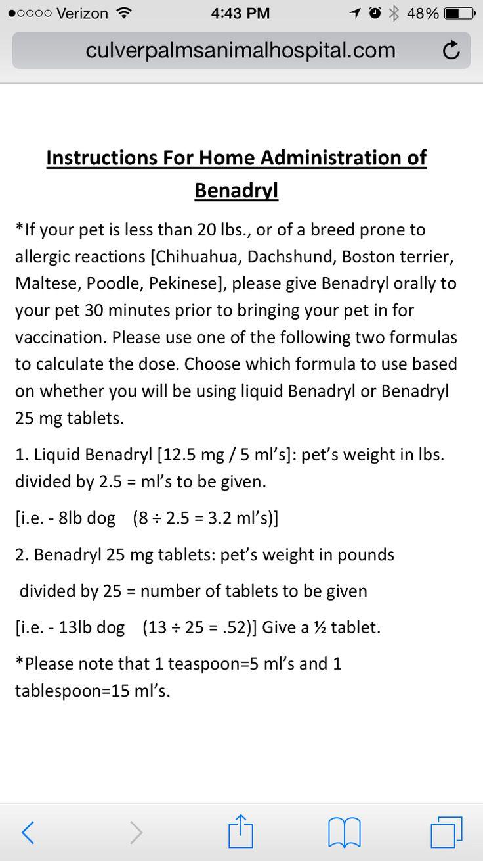 Lb 20 liquid dog for benadryl