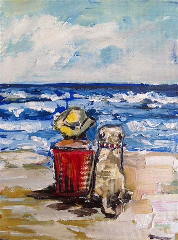 Girl on Beach Painting by DevinePaintings on Etsy, $58.00