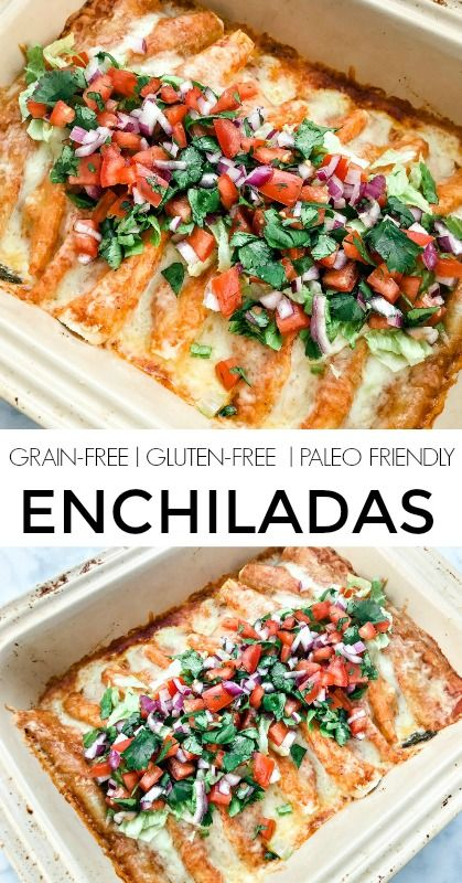Grain Free Enchiladas (Gluten-Free, Low-Carb, Paleo Option) - a healthy spin on the Mexican classic with lean ground beef, almond flour tortillas and organic cheese Ancestral Nutrition #paleorecipes #glutenfree