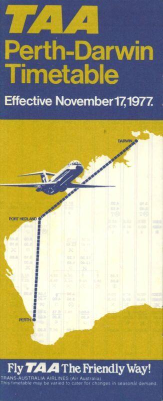 TAA PERTH-DARWIN TIMETABLE & FARES 1977