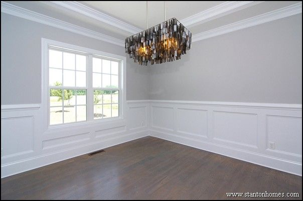 Formal dining room with trey ceiling custom wainscoting for Dining room wainscoting