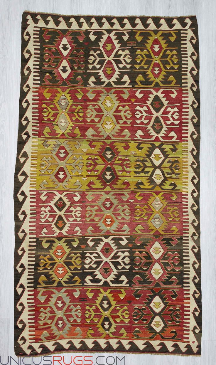 "Vintage handwoven kilim rug from Konya region of Turkey. In very good condition. Approximately 45-55 years old. Wool on wool Width: 4' 11"" - Length: 9' 1""  Colorful Kilims"