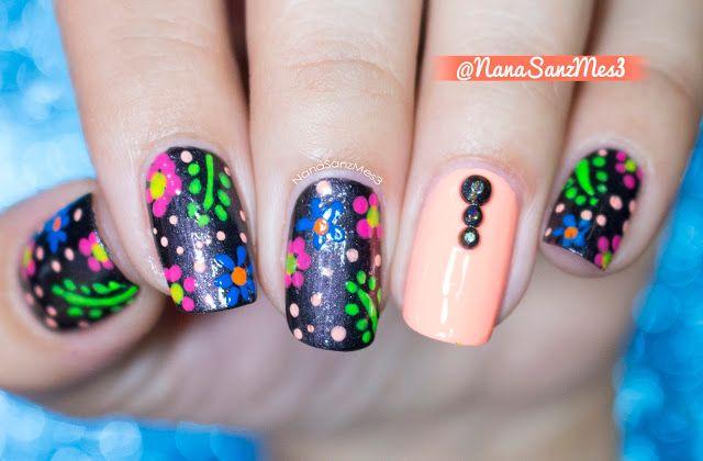 Neon Floral Hawaiian nails! ❀ by @nanasanzmes3 #nailart #nails #cute #fashion