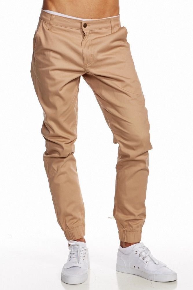 Mens Dark british khaki almond color Jogger Heft Brand Signature Twill Pants