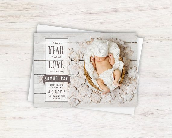 New Years Holiday Card Gender Neutral Typography Newborn Birth Announcement by Gray Star Design