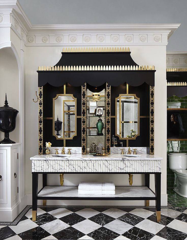 The Death Of The Boring White Kitchen and Bathroom at KBIS - laurel home | Fabulous bathroom design for the DXV Panel 2016 at KBIS 2017 - by designer Susan Jamieson - Bridget Beari Designs. Love the black and white and green mix of neo-classical and Chinoiserie motifs - DXV is the luxury end of American Standard