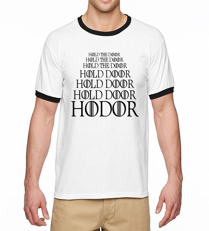 New Arrival 2017 Summer Hip Hop Tshirt Game Of Thrones Hodor Hold The Door Ringer t-Shirts Men 100% Cotton Casual Men T Shirt - Direwolf Shop Direwolf Shop