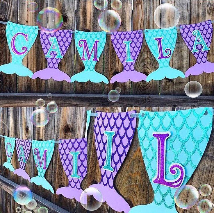 Mermaid Banner, mermaid tail banner, mermaid party, mermaid decorations, mermaid decor, mermaid birthday party, mermaid theme, mermaid tails by Mamaspartyshoppe on Etsy https://www.etsy.com/listing/519599667/mermaid-banner-mermaid-tail-banner