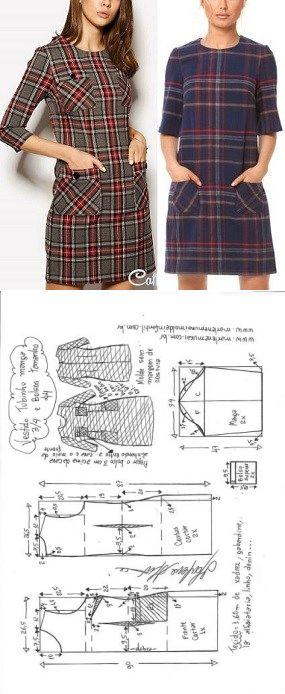 Vestido tubinho manga 3/4 e bolsos | DIY - molde, corte e costura - Marlene Mukai // Taika
