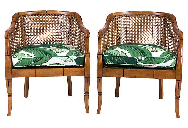 Bamboo Barrel Chairs, Pair on OneKingsLane.com