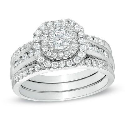1 CT. T.W. Diamond Octagonal Double Frame Bridal Set in 10K White Gold