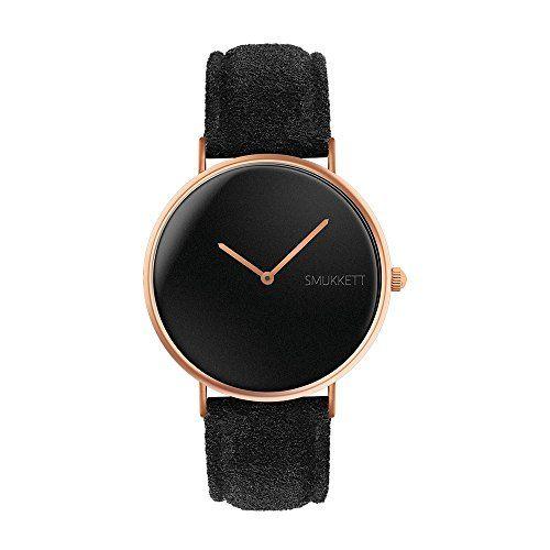 SMUKKETT-Watch-flache-Herren-und-Damen-Armband-Uhr-mit-vegan-Nato-Nylon-Wildleder-Glatt-Leder-oder-Velours-Band-in-36-40-mm-All-Black-Rose-Gold-Silber-Schwarz-oder-Wei-Kupfer-siehe-Varianten