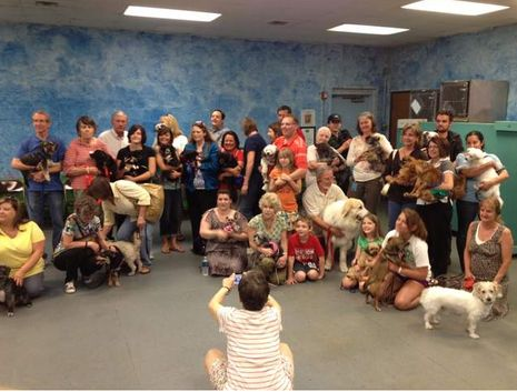 Austin Humane Society holds reunion for over 150 dogs rescued from hoarder in May 2011.