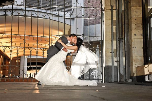 Real life bride connie s and simon s first dance our for Trisha yearwood wedding dress